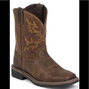 Justin Boots cattleman's tan square toe workboot